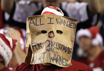 GLENDALE, AZ - DECEMBER 25:  A fan of the Arizona Cardinals wears a bag on his head during the NFL game against the Dallas Cowboys at the University of Phoenix Stadium on December 25, 2010 in Glendale, Arizona.  The Cardinals defeated the Cowboys 27-26.