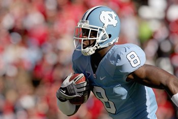 CHAPEL HILL, NC - NOVEMBER 22:  Greg Little #8 of the North Carolina Tar Heels carries the ball during the game the North Carolina State Wolfpack at Kenan Stadium on November 22, 2008 in Chapel Hill, North Carolina. (Photo by Streeter Lecka/Getty Images)