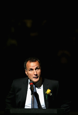 PITTSBURGH - NOVEMBER 15:  Former Pittsburgh Penguins great, Paul Coffey speaks after being inducted into the Penguins Hall of Fame before the NHL game against the New York Islanders at Mellon Arena on November 15, 2007 in Pittsburgh, Pennsylvania.  (Phot