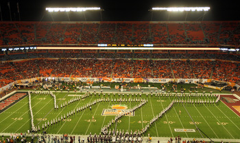 MIAMI, FL - JANUARY 03:  The Virginia Tech Hokies marching band performs prior to the Hokies playing against the Stanford Cardinal during the 2011 Discover Orange Bowl at Sun Life Stadium on January 3, 2011 in Miami, Florida.  (Photo by Mike Ehrmann/Getty