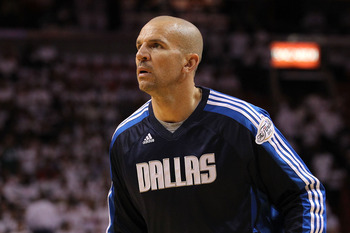 MIAMI, FL - JUNE 02:  Jason Kidd #2 of the Dallas Mavericks warms up against the Miami Heat in Game Two of the 2011 NBA Finals at American Airlines Arena on June 2, 2011 in Miami, Florida. NOTE TO USER: User expressly acknowledges and agrees that, by down