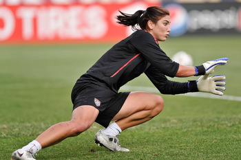 COLUMBUS, OH - MAY 14:  Goalkeeper Hope Solo #1 of the United States warms up before a game against Japan on May 14, 2011 at Crew Stadium in Columbus, Ohio.  (Photo by Jamie Sabau/Getty Images)