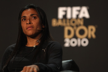 ZURICH, SWITZERLAND - JANUARY 10: Marta of Brazil during the press conference ahead of the FIFA Ballon d'or Gala at the Zurich Kongresshaus on January 10, 2011 in Zurich, Switzerland.  (Photo by Michael Steele/Getty Images)