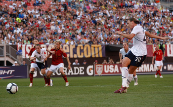 CLEVELAND - MAY 22:  Abby Wambach #20 of the United States takes her penalty kick in the first half against Germany during the game on May 22, 2010 at Browns Stadium in Cleveland, Ohio.  (Photo by Jared Wickerham/Getty Images)