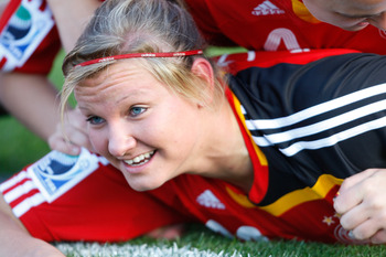 CHRISTCHURCH, NEW ZEALAND - NOVEMBER 13:  Alexandra Popp of Germany celebrates scoring a goal during the FIFA U17 Women`s World Cup Semi Final match between Germany and the USA at QE II Stadium on November 13, 2008 in Christchurch, New Zealand.  (Photo by