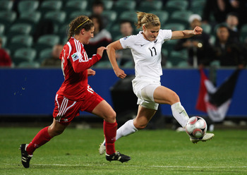 AUCKLAND, NEW ZEALAND - OCTOBER 28:  Rosie White of New Zealand (R) in action during the FIFA U-17 Women`s World Cup match between New Zealand and Canada at North Harbour Stadium on October 28, 2008 in Auckland, New Zealand.  (Photo by Sandra Mu/Getty Ima