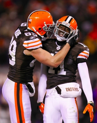 CLEVELAND - DECEMBER 10: Evan Moore #89 and Mohamed Massaquoi #11 of the Cleveland Browns celebrate after a catch against the Pittsburgh Steelers at Cleveland Browns Stadium on December 10, 2009 in Cleveland, Ohio. (Photo by Gregory Shamus/Getty Images)