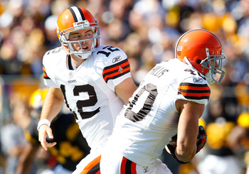PITTSBURGH - OCTOBER 17:  Colt McCoy #12 of the Cleveland Browns hands the ball off to Peyton Hillis #40 during the game against the Pittsburgh Steelers on October 17, 2010 at Heinz Field in Pittsburgh, Pennsylvania.  (Photo by Jared Wickerham/Getty Image