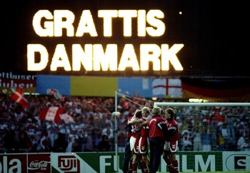 26 Jun 1992:  The scoreboard congratulates Denmark after the European Championship Final against Germany at the Ullevi Stadium in Gothenburg, Sweden. Denmark won the match 2-0. \ Mandatory Credit: Shaun Botterill /Allsport
