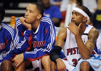 AUBURN HILLS, MI - APRIL 26:  (L-R) Tayshaun Prince #22 and Richard Hamilton #32 of the Detroit Pistons sit on the bench in Game Four of the Eastern Conference Quarterfinals against the Cleveland Cavaliers during the 2009 NBA Playoffs at the Palace of Aub