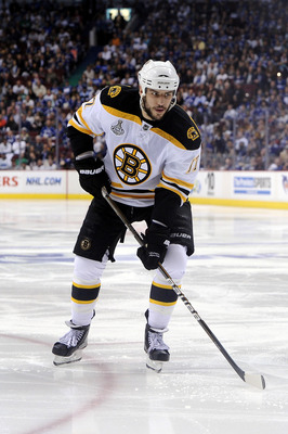 VANCOUVER, BC - JUNE 01:  Milan Lucic #17 of the Boston Bruins skates against the Vancouver Canucks during game one of the 2011 NHL Stanley Cup Finals at Rogers Arena on June 1, 2011 in Vancouver, Canada.  (Photo by Harry How/Getty Images)