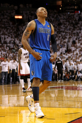 MIAMI, FL - JUNE 02:  Shawn Marion #0 of the Dallas Mavericks reacts against the Miami Heat in Game Two of the 2011 NBA Finals at American Airlines Arena on June 2, 2011 in Miami, Florida. NOTE TO USER: User expressly acknowledges and agrees that, by down