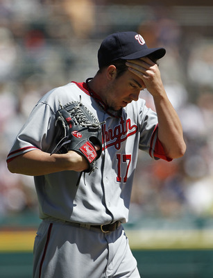 DETROIT - JUNE 17:  Sean Burnett #17 of the Washington Nationals pitches in the seventh during the game against the Detroit Tigers on June 17, 2010 at Comerica Park in Detroit, Michigan. The Tigers defeated the Nationals 8-3.  (Photo by Leon Halip/Getty I