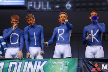 DALLAS, TX - MAY 25:  Dallas Mavericks fans paints their chests saying 'Dirk' for Dirk Nowitzki #41 of the Mavericks before the Mavericks take on the Oklahoma City Thunder in Game Five of the Western Conference Finals during the 2011 NBA Playoffs at Ameri