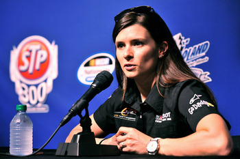 JOLIET, IL - JUNE 03:  Danica Patrick, driver of the #7 Tissot/GoDaddy.com Chevrolet, speaks with the media prior to practice for the NASCAR Nationwide Series STP 300 at Chicagoland Speedway on June 3, 2011 in Joliet, Illinois.  (Photo by Jason Smith/Gett