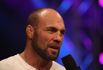 PHOENIX - AUGUST 13:  Randy Couture speaks with the media during the Strikeforce Challengers Main Card bout at Dodge Theater on August 13, 2010 in Phoenix, Arizona.  (Photo by Christian Petersen/Getty Images)