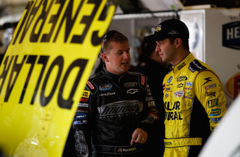 Justin Allgaier (left) speaks with Reed Sorenson