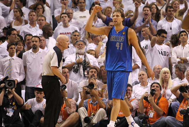 MIAMI, FL - JUNE 02:  Dirk Nowitzki #41 of the Dallas Mavericks reacts against the Miami Heat in Game Two of the 2011 NBA Finals at American Airlines Arena on June 2, 2011 in Miami, Florida. NOTE TO USER: User expressly acknowledges and agrees that, by do