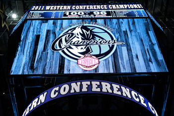 DALLAS, TX - MAY 25:  The scoreboard displays the Dallas Mavericks as the Western Conference Champions as the Mavericks defeated the Oklahoma City Thunder 100-96 in Game Five of the Western Conference Finals during the 2011 NBA Playoffs at American Airlin