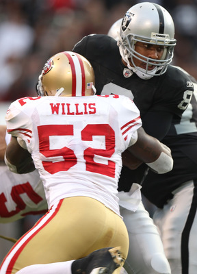 OAKLAND, CA - AUGUST 28:  Patrick Willis #52 of the San Francisco 49ers sacks Jason Campbell #8 of the Oakland Raiders during an NFL preseason game at Oakland-Alameda County Coliseum on August 28, 2010 in Oakland, California.  (Photo by Jed Jacobsohn/Gett