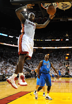 MIAMI, FL - JUNE 02:  LeBron James #6 of the Miami Heat dunks against DeShawn Stevenson #92 of the Dallas Mavericks in Game Two of the 2011 NBA Finals at American Airlines Arena on June 2, 2011 in Miami, Florida. The Mavericks won 95-93. NOTE TO USER: Use