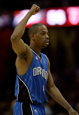 CLEVELAND - MAY 28: Rafer Alston #1 of the Orlando Magic reacts after a play against the Cleveland Cavaliers in Game Five of the Eastern Conference Finals during the 2009 Playoffs at Quicken Loans Arena on May 28, 2009 in Cleveland, Ohio. NOTE TO USER: Us