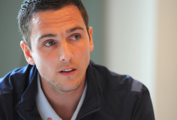ST ALBANS, ENGLAND - MAY 31:  Stewart Downing speaks to the media during the England press conference at the Grove Hotel on May 31, 2011 in Watford, England.  (Photo by Michael Regan/Getty Images)