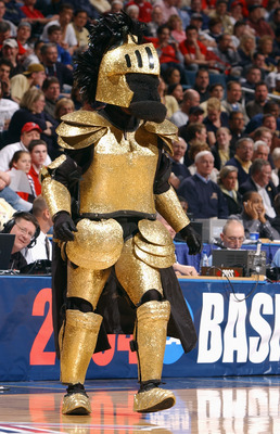 MILWAUKEE - MARCH 19:  The Central Florida Golden Knights mascot entertains the crowd during the first round game of the NCAA Division I Men's Basketball Tournament against the Pittsburgh Panthers at Bradley Center on March 19, 2004 in Milwaukee, Wisconsi