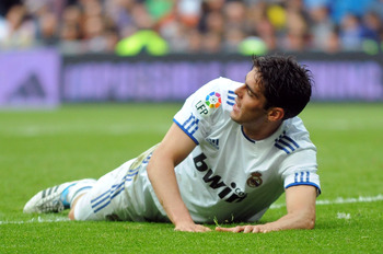MADRID, SPAIN - APRIL 30:  Kaka of Real Madrid reacts during the La Liga between Real Madrid and Real Zaragona at Estadio Santiago Bernabeu on April 30, 2011 in Madrid, Spain.  (Photo by Denis Doyle/Getty Images)