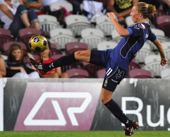 BRISBANE, AUSTRALIA - NOVEMBER 22: Brittany Timko of Victory kicks the ball during the round five W-League match between the Queensland Roar and the Melbourne Victory at Spencer Park on Novermber 22, 2008 in Brisbane, Australia.  (Photo by David Hardenber
