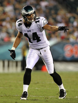 PHILADELPHIA - AUGUST 13:  Riley Cooper #14 of the Philadelphia Eagles points towards the sideline against the Jacksonville Jaguars during their preseason game at Lincoln Financial Field on August 13, 2010 in Philadelphia, Pennsylvania.  (Photo by Nick La
