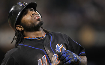 NEW YORK, NY - JUNE 03: Jose Reyes #7 of the New York Mets reacts after grounding out against the Atlanta Braves at Citi Field on June 3, 2011 in the Flushing neighborhood of the Queens borough of New York City.  (Photo by Nick Laham/Getty Images)