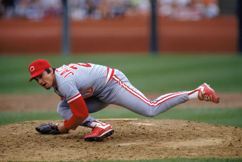 1990:  Danny Jackson of the Cincinnati Reds falls after his pitch during a MLB game in the 1990 season. ( Photo by: Otto Greule Jr/Getty Images)