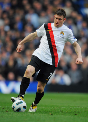 LONDON, ENGLAND - MARCH 20:  James Milner of Manchester City in action during the Barclays Premier League match between Chelsea and Manchester City at Stamford Bridge on March 20, 2011 in London, England.  (Photo by Michael Regan/Getty Images)