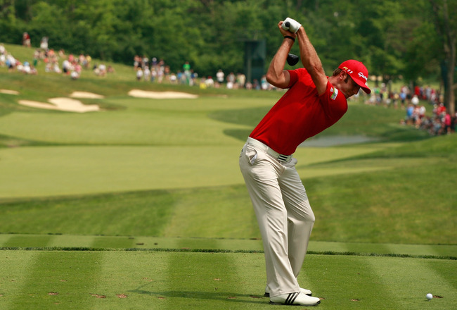 DUBLIN, OH - JUNE 04:  Dustin Johnson hits his tee shot on the 14th hole during the third round of the Memorial Tournament presented by Nationwide Insurance at the Muirfield Village Golf Club on June 4, 2011 in Dublin, Ohio.  (Photo by Scott Halleran/Gett