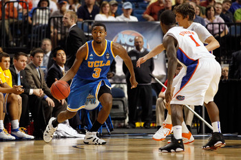 TAMPA, FL - MARCH 19:  Malcolm Lee #3 of the UCLA Bruins drives against the Florida Gators during the third round of the 2011 NCAA men's basketball tournament at St. Pete Times Forum on March 19, 2011 in Tampa, Florida. Florida won 73-65. (Photo by J. Mer