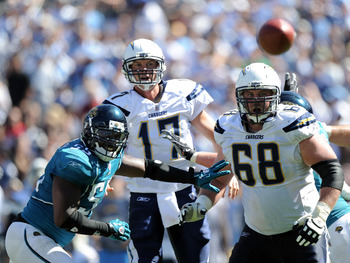 SAN DIEGO - SEPTEMBER 19:  Philip Rivers #17 of the San Diego Chargers watches his pass with Kris Dielman #68 and Kirk Morrison #55 of the Jacksonville Jaguars during the game at Qualcomm Stadium on September 19, 2010 in San Diego, California.  (Photo by
