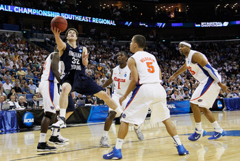 NEW ORLEANS, LA - MARCH 24:  Jimmer Fredette #32 of the Brigham Young Cougars shoots against the Florida Gators during the Southeast regional of the 2011 NCAA men's basketball tournament at New Orleans Arena on March 24, 2011 in New Orleans, Louisiana.  (