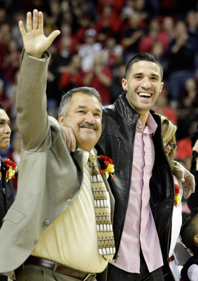 COLLEGE PARK, MD - FEBRUARY 20: Former Maryland Terrapins player and a current member of the Memphis Grizzlies, Greivis Vasquez, right, and his father Gregorio, left, before the start of the Terrapins game against the NC State Wolfpack at the Comcast Cent