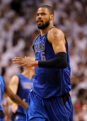 MIAMI, FL - JUNE 02:  Tyson Chandler #6 of the Dallas Mavericks reacts in the third quarter while taking on the Miami Heat in Game Two of the 2011 NBA Finals at American Airlines Arena on June 2, 2011 in Miami, Florida. NOTE TO USER: User expressly acknow