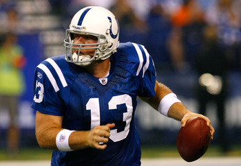 INDIANAPOLIS - AUGUST 28:  Backup quarterback Jared Lorenzen #13 of the Indianapolis Colts against the Cincinnati Bengals during the game at Lucas Oil Stadium on August 28, 2008 in Indianpolis, Indiana.  (Photo by Kevin C. Cox/Getty Images)