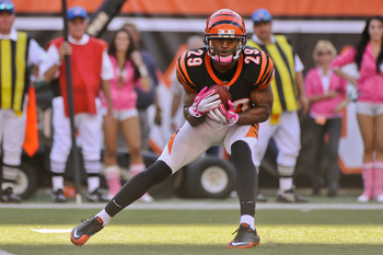 CINCINNATI, OH - OCTOBER 10: Leon Hall #29 of the Cincinnati Bengals returns a kick against the Tampa Bay Buccaneers at Paul Brown Stadium on October 10, 2010 in Cincinnati, Ohio. (Photo by Jamie Sabau/Getty Images)