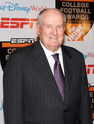 LAKE BUENA VISTA, FL - DECEMBER 10:  Former Brigham Young University coach Lavell Edwards poses after being honored for his Contributions to College Football Award during the Home Depot ESPNU College Football Awards at the Disney Boardwalk on December 10,