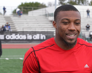LOS ANGELES, CA - MARCH 19:  adidas and Eric Berry pop into a football practice in Los Angeles to capture game faces as part of the adidas Facebook Game Face contest.  (Photo by Noel Vasquez/Getty Images for adidas)