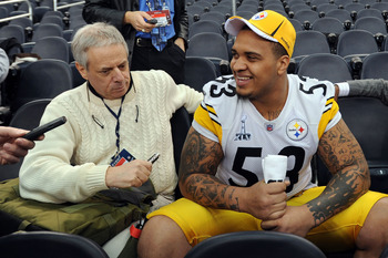 ARLINGTON, TX - FEBRUARY 01:  Maurkice Pouncey #53 of the Pittsburgh Steelers is interviewed during Super Bowl XLV Media Day ahead of Super Bowl XLV at Cowboys Stadium on February 1, 2011 in Arlington, Texas. The Pittsburgh Steelers will play the Green Ba