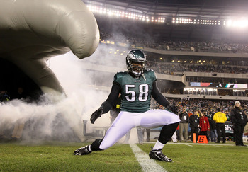 PHILADELPHIA, PA - DECEMBER 02:  Trent Cole #58 of the Philadelphia Eagles takes the field during player introductions against the Houston Texans at Lincoln Financial Field on December 2, 2010 in Philadelphia, Pennsylvania.  (Photo by Jim McIsaac/Getty Im