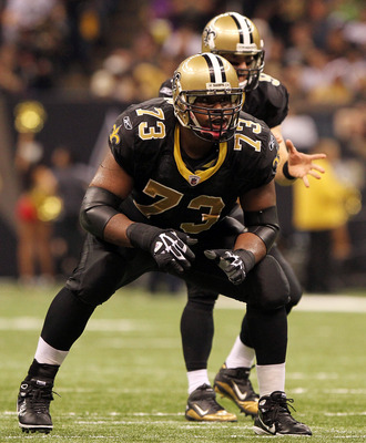 NEW ORLEANS, LA - OCTOBER 31: Jahri Evans #73 of the New Orleans Saints in action during the game against the Pittsburgh Steelers at the Louisiana Superdome on October 31, 2010 in New Orleans, Louisiana. (Photo by Matthew Sharpe/Getty Images)