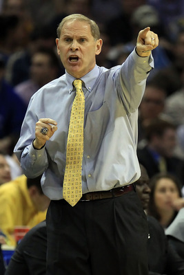 CHARLOTTE, NC - MARCH 20:  Head coach John Beilein of the Michigan Wolverines reacts while taking on the Duke Blue Devils during the third round of the 2011 NCAA men's basketball tournament at Time Warner Cable Arena on March 20, 2011 in Charlotte, North