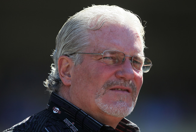 LOS ANGELES, CA - MARCH 31:  San Francisco Giants general manager Brian Sabean looks on prior to the start of the game against the Los Angeles Dodgers on Opening Day at Dodger Stadium on March 31, 2011 in Los Angeles, California.  (Photo by Jeff Gross/Get