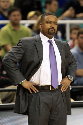 GREENSBORO, NC - MARCH 10:  Head coach Frank Haith of the Miami Hurricanes looks on during the game against the Virginia Cavaliers during the first round of the 2011 ACC men's basketball tournament at the Greensboro Coliseum on March 10, 2011 in Greensbor